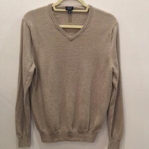 J Crew Merino Wool Sweater Size Medium M Beige Tan